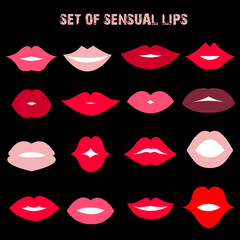 Set of sensual lips. Flat style. Vector illustration.