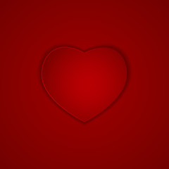 Heart on Red Background Vector Illustration