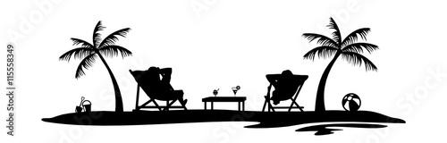 strand liegestuhl palmen stockfotos und lizenzfreie vektoren auf bild 115558349. Black Bedroom Furniture Sets. Home Design Ideas