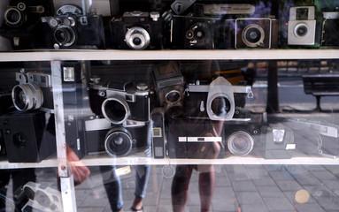 Old cameras on storefront