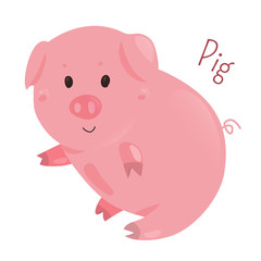 Pig. Sticker for kids. Child fun icon.