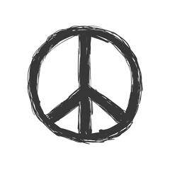 Love and Peace concept represented by hippie circle icon. Isolated and flat illustration