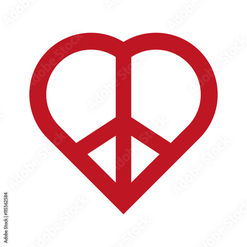 Love And Peace Concept Represented By Heart Shape Icon Isolated And