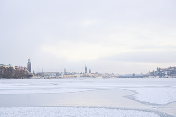 Sweden, Stockholm, Winter scene freezing Riddarfjarden bay