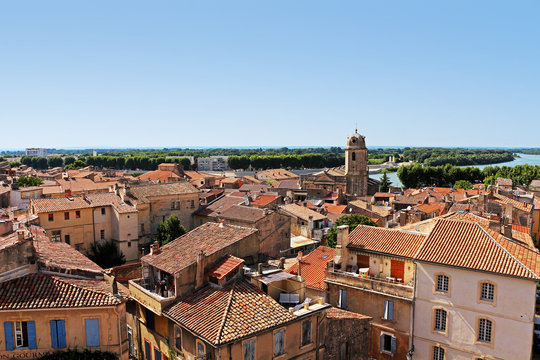 view above old town Arles in Southern France