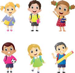 illustration of school kids in education concept.