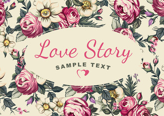 Cover Love Story, background of flowers