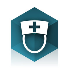 nurse blue cube icon, modern design web element