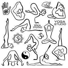 Set Of Stylized Female Yoga Poses.
