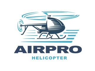 Flying helicopter, logo emblem, light background