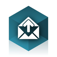 email blue cube icon, modern design web element