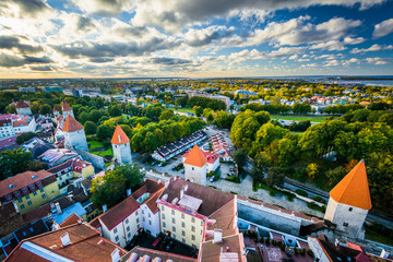 View of the Old Town from St. Olaf's Church Tower, in Tallinn, E