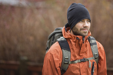 Male hiker standing outdoors