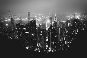 Hazy view from Victoria Peak at night, in Hong Kong, Hong Kong.