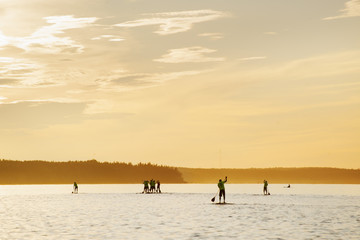 Finland, Varsinais-Suomi, Satakunda, Eura, Men competing on paddleboards at sunset