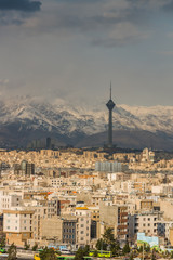 Tehran skyline of the city