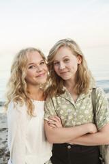 Sweden, Blekinge, Hallevik, Portrait of two teenage girls (14-15, 16-17) at bay