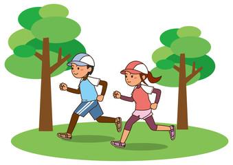 公園でランニングをする男性と女性