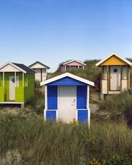 Sweden, Skane, Skanor med Falsterbo, Huts on grassy beach