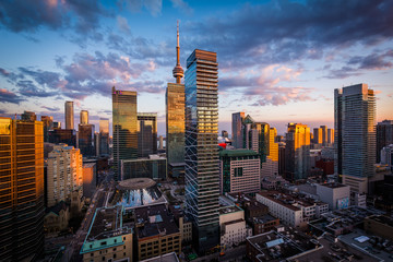 View of modern buildings at sunset in downtown Toronto, Ontario. Wall mural