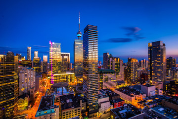 Printed roller blinds Toronto View of modern buildings at twilight in downtown Toronto, Ontari