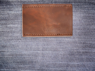 blank brown leather jean label