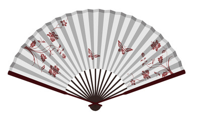 Ancient Traditional Chinese fan with Flowers And Butterflies