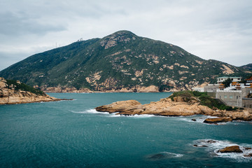 View of rocky coast at Shek O and D'Aguilar Peak, from Tai Tau C