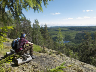 Hiker looking at view while sitting on wooden bench in forest