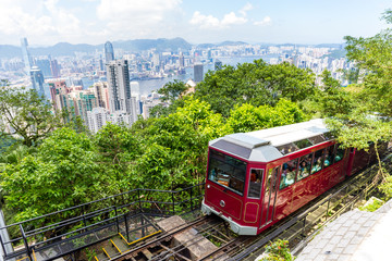 Wall Mural - Victoria Peak Tram and Hong Kong city skyline