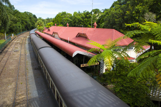 View of the Kuranda Railway Station with a train waiting on the platform. Far North Queensland, Wet Tropics World Heritage Area.