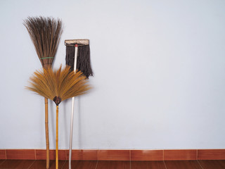 Brooms and mop for cleaning