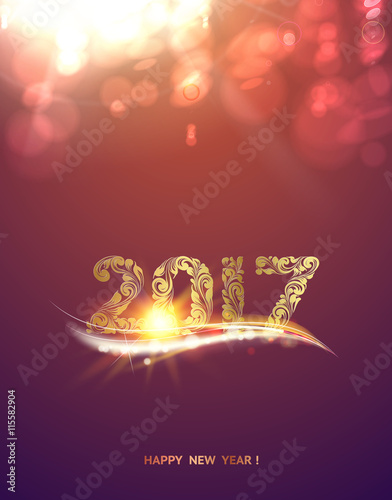 gold template over purple background with golden bokeh happy new year 2017 christmas card