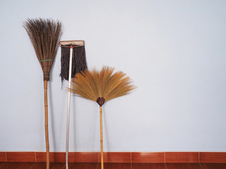Brooms and mop for cleaning over