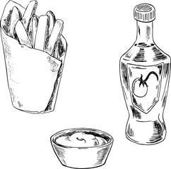 Set of french fries and sauces drawn by ink on white background. Hand drawn vector illustration.