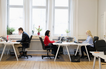 Sweden, Side-view of people working in office