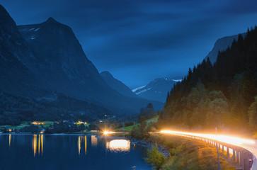 Norway, Sogn og Fjordane, Stryn, Mountain lake at night
