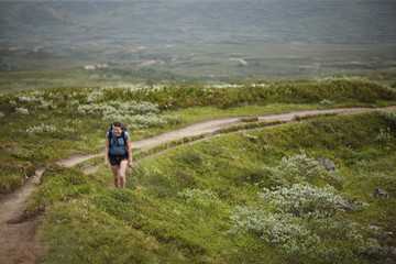 Sweden, Jamtland, Blahammaren fell, Woman hiking in meadows