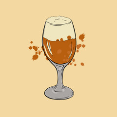 Glass of beer on pastel beige background. Hand drawn vector illustration.