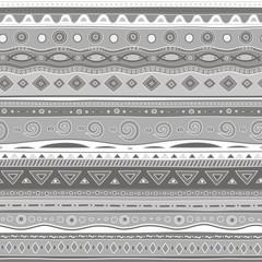 Gray curls. Seamless pattern.