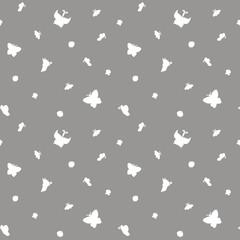 White butterflies. Seamless pattern.