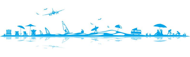 Silhouette Strand und Surfen