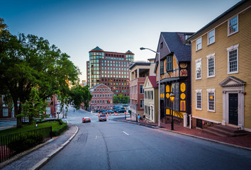 Buildings along Thomas Street, in Providence, Rhode Island.