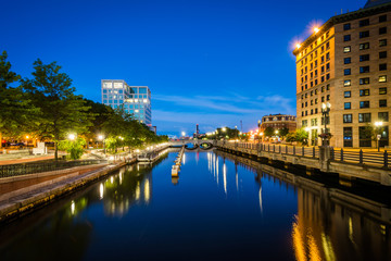 Buildings along the Providence River at night, in downtown Provi