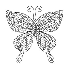 Coloring book for adult and older children.  page. Outline drawing. Decorative butterfly in frame