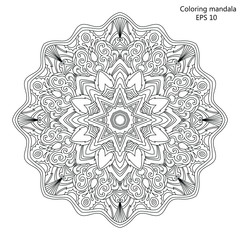 Mandala Coloring page for adult vector Illustration