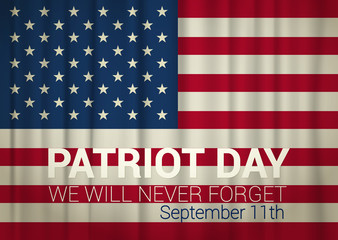 patriot day illustration and USA flag. vector illustration