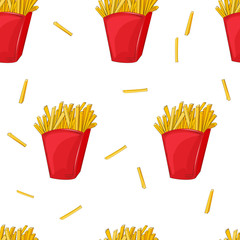 Seamless pattern of French fries in a red cardboard box.
