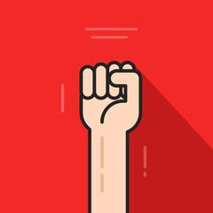 Fist hand up vector icon isolated on red background, revolution logo idea, freedom symbol, soviet concept, flat cartoon line art outline illustration