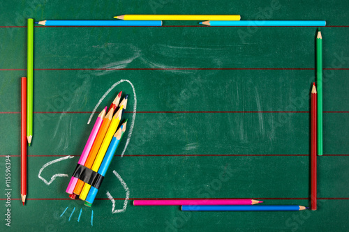 """Rocket Ship Made Of Pencils On The Chalkboard With"